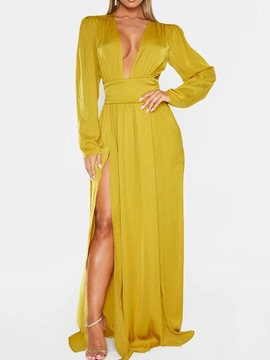 Ericdress Floor-Length V-Neck Long Sleeve Plain Women's Dress