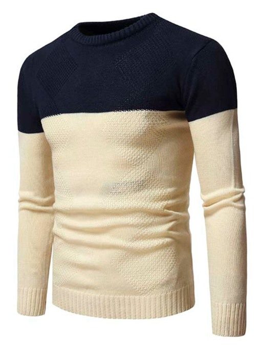Ericdress Patchwork Color Block Standard Casual Men's Sweater
