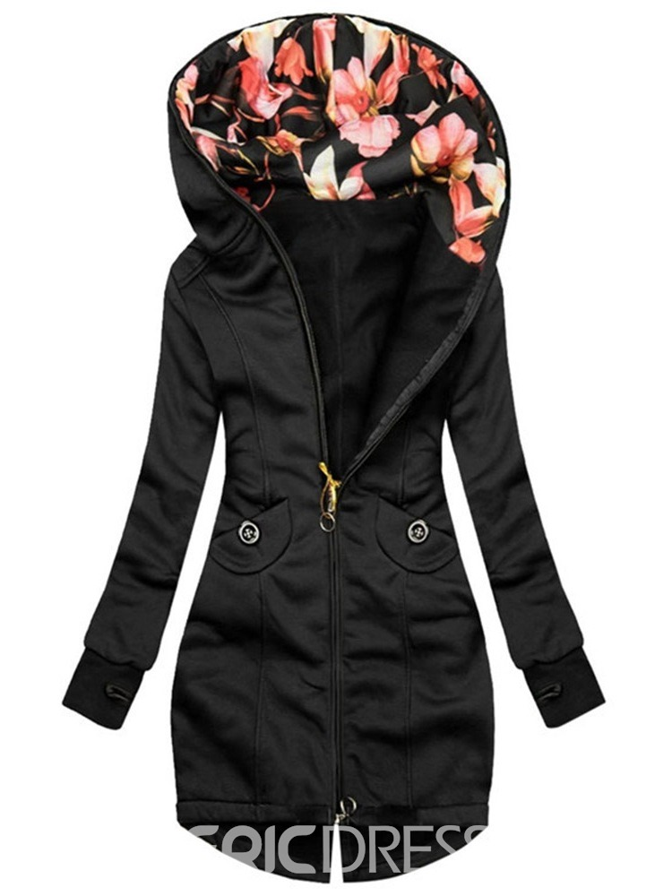 Ericdress Pocket Zipper Mid-Length Slim Regular Women's Trench Coat