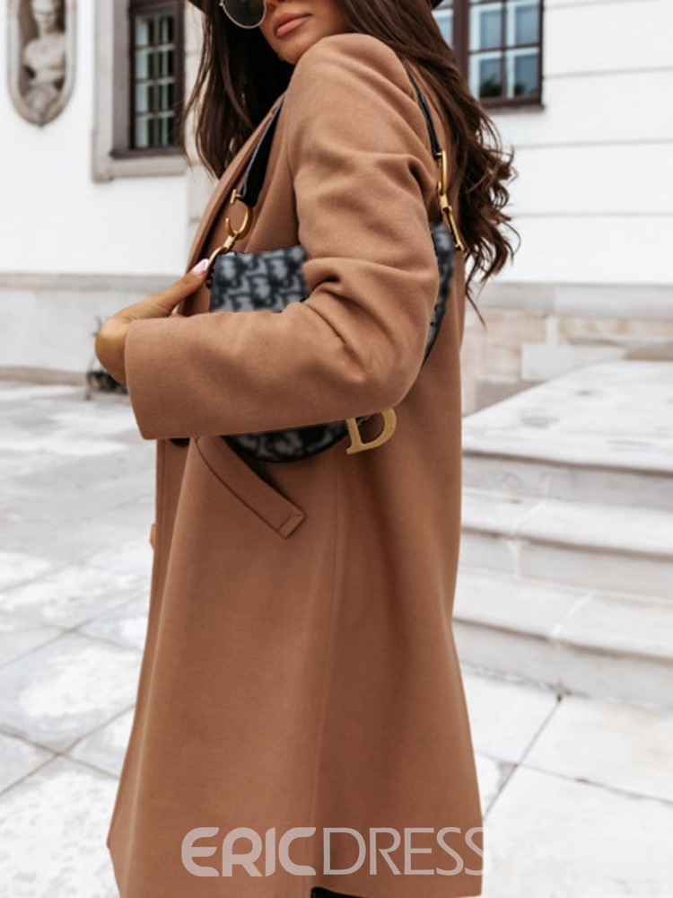 Ericdress Slim Single-Breasted Pocket Notched Lapel Long Women's Overcoat