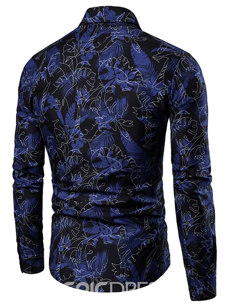 Ericdress Print Floral Lapel Fall Men's Slim Shirt