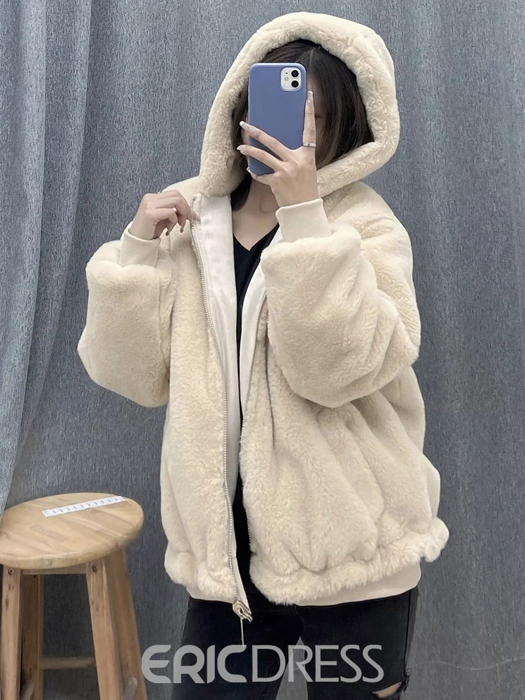 Ericdress Standard Plain Regular Fall Loose Women's Faux Fur Overcoat