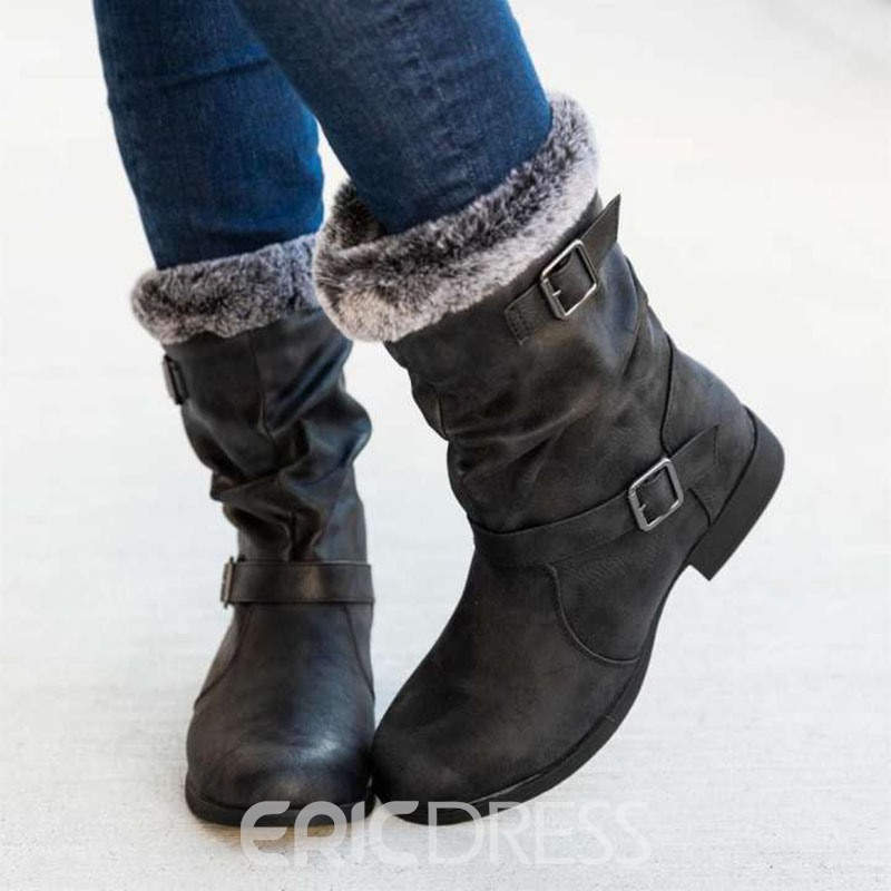 Ericdress Block Heel Plain Round Toe Casual Boots