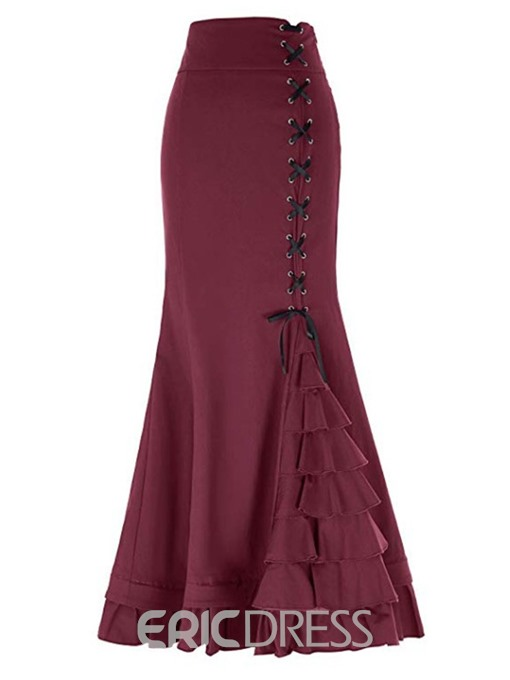 Ericdress Lace-Up Plain Ankle-Length Casual High Waist Women's Skirt