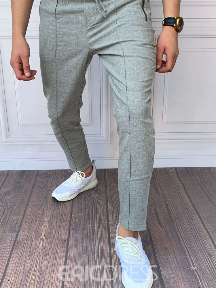 Ericdress Pencil Pants Plain Four Seasons Lace-Up Men's Casual Pants
