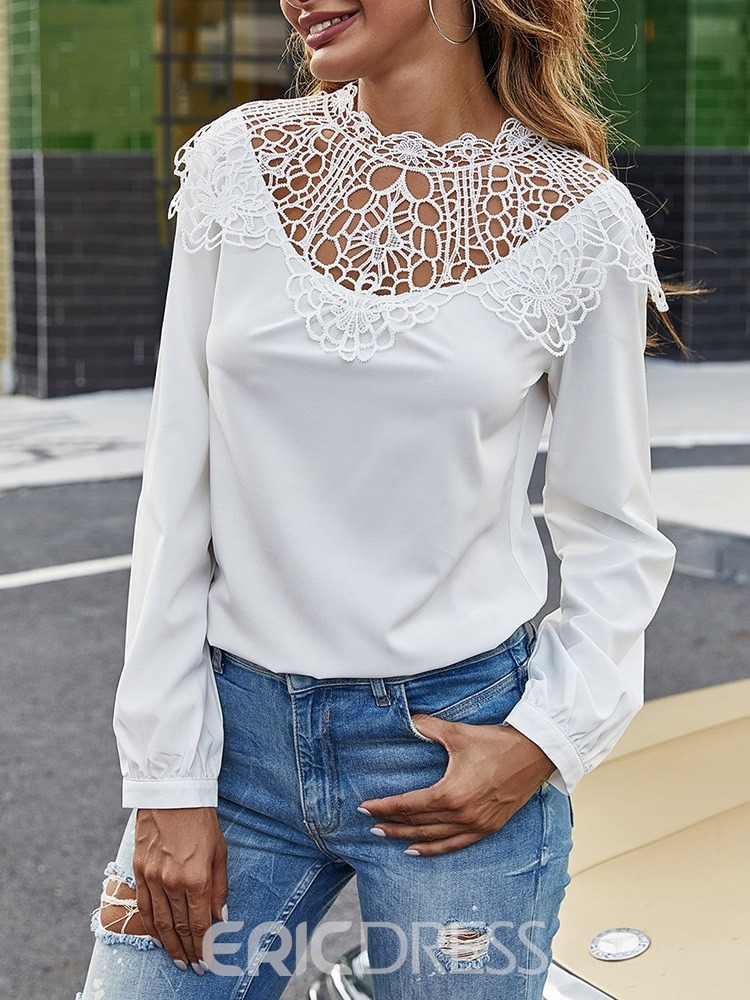 Ericdress Hollow Regular Round Neck Standard Long Sleeve Women's Blouse