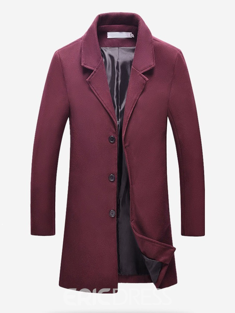 Ericdress Plain Mid-Length Men's Slim Korean Coat
