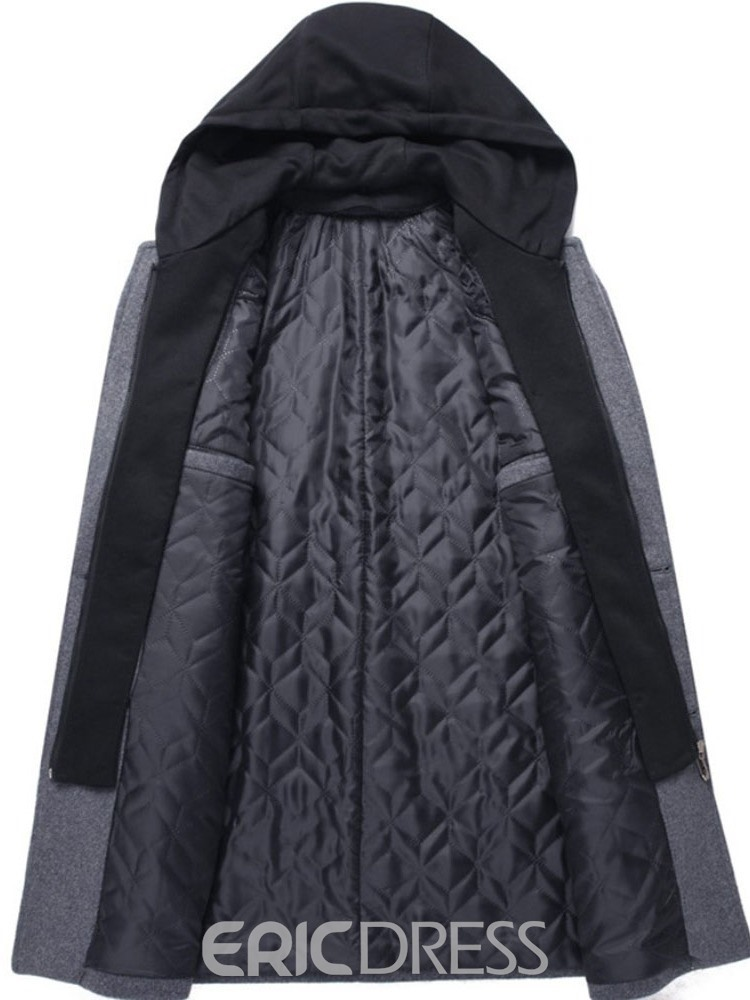 Ericdress Mid-Length Double-Layer Single-Breasted Casual Men's Coat