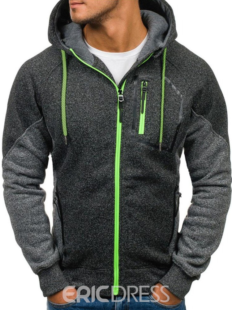 Ericdress Cardigan Fleece Color Block Men's Casual Hooded
