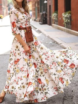 Ericdress Print Half Sleeve Floor-Length Expansion Fashion Women's Dress