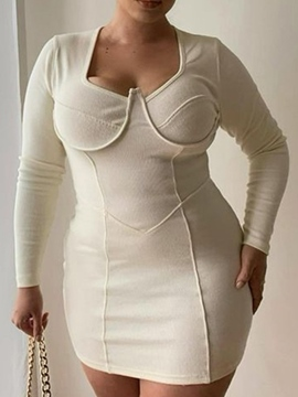 Ericdress Plus Size Long Sleeve Above Knee Regular Plain Women's Dress