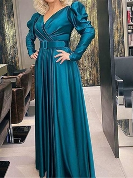 Ericdress Long Sleeve Pleated Floor-Length Puff Sleeve Plain Women's Dress