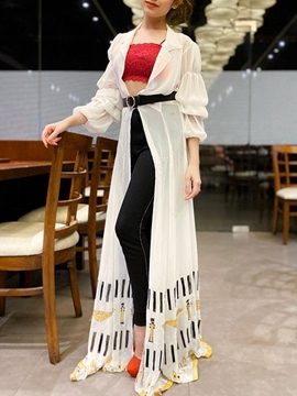 Ericdress Lapel Print Three-Quarter Sleeve Women's Long Blouse
