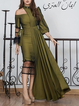 Ericdress Floor-Length Mesh Nine Points Sleeve Pullover Asymmetrical Women's Dress