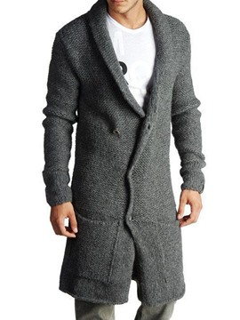 Ericdress Lapel Long Plain Men's Single-Breasted Fall Sweater