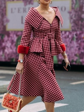 Ericdress Plus Size Plaid Mantel Patchwork Revers Frauen zweiteilige Sets