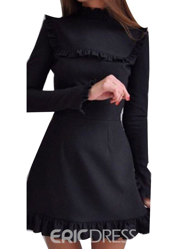 Ericdress Stand Collar Above Knee Long Sleeve Pullover Fall Women's Dress