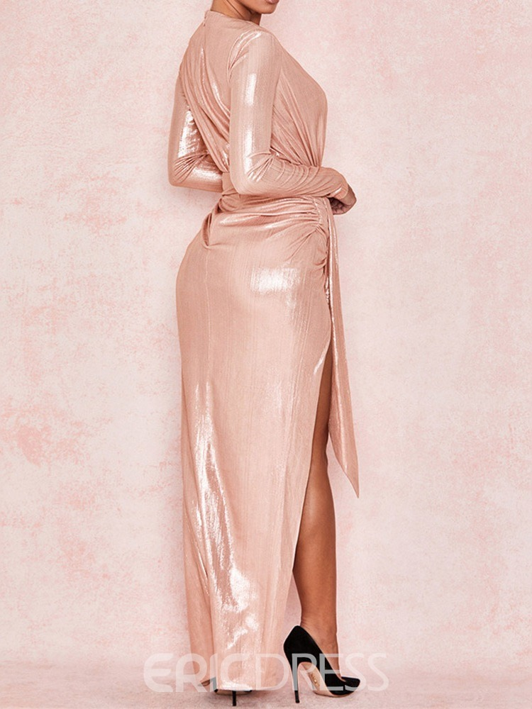 Ericdress Floor-Length Split V-Neck Bodycon Plain Dress