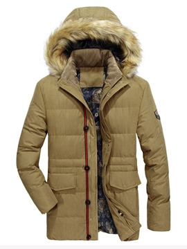 Ericdress Pocket Mid-Length Zipper Casual Men's Down Jacket