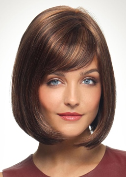 Ericdress Short Bob Style Slik Straight Synthetic Hair Wigs Capless Wigs With Bangs 10Inch