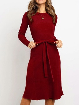 Ericdress Mid-Calf Lace-Up Long Sleeve Pullover Fall Women's Dress