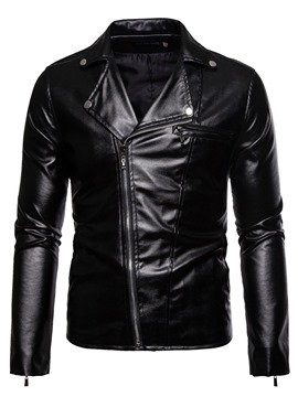 Ericdress Standard Lapel Plain Winter Zipper Leather Men's Jacket
