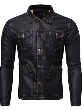Ericdress Standard Lapel Plain Slim Pocket Leather Men's Jacket