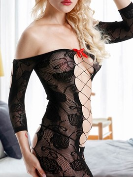 Ericdress Floral Fishnet Boat Neck Three-Quarter Sleeve Tight Wrap Babydolls