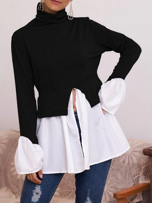 Ericdress Patchwork Regular Color Block Long Sleeve Mid-Length Women's Blouse