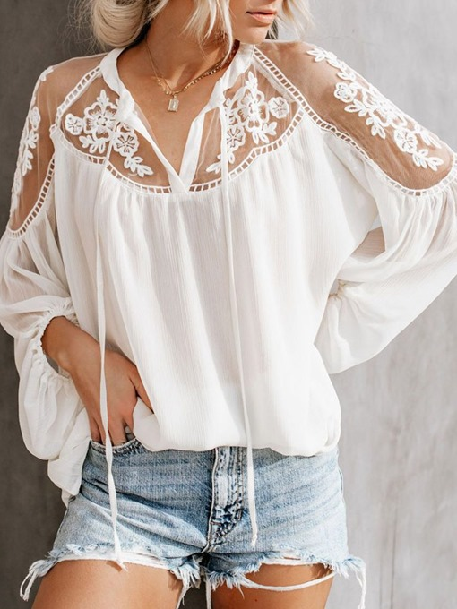 Ericdress See-Through Plain Mid-Length Women's Long Sleeve Blouse