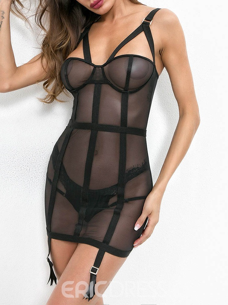 Ericdress Spaghetti Strap Plain See-Through Polyester Sleeveless Teddies & Bodysuits