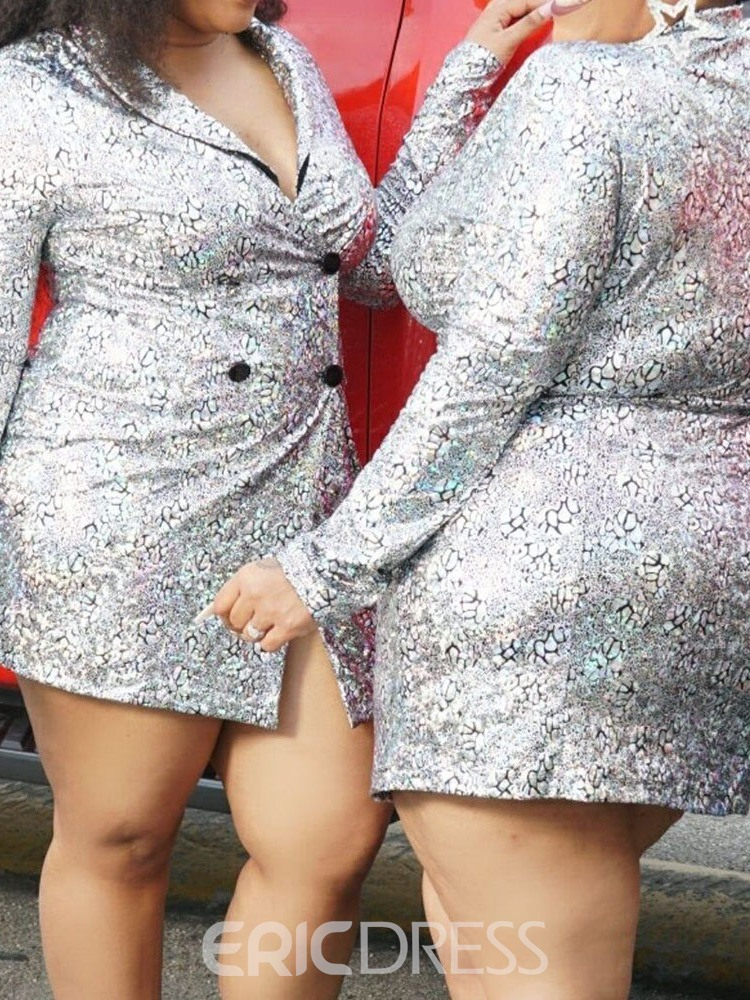 Ericdress Above Knee Sequins Long Sleeve Double-Breasted Western Dress