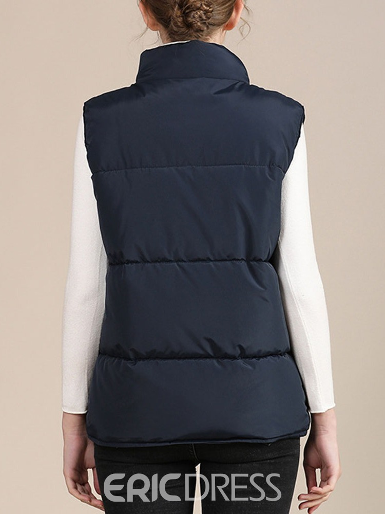 Ericdress Plain Patchwork Single-Breasted Women's Winter Standard Vest