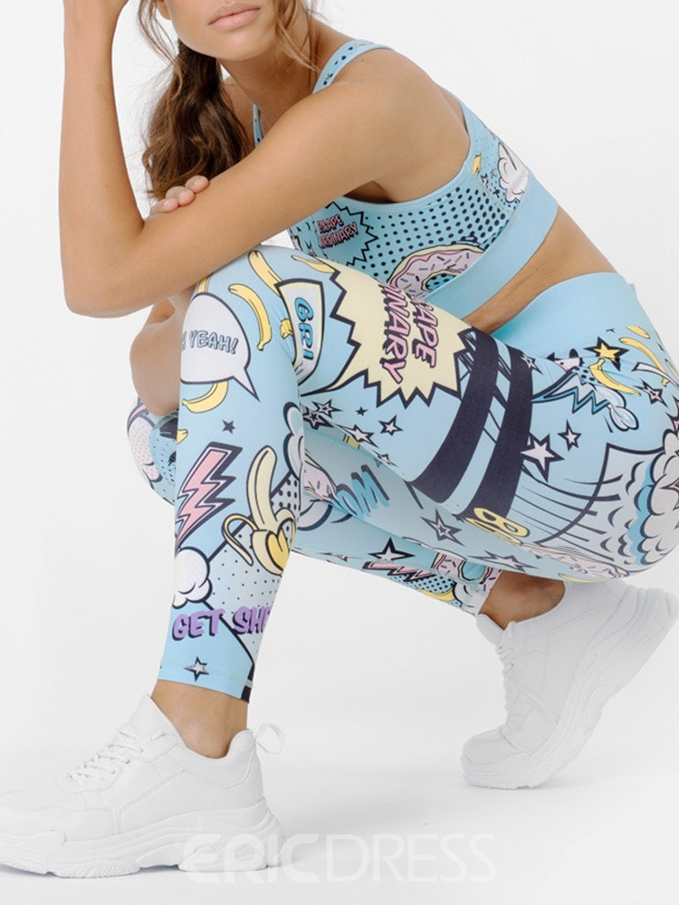 Ericdress Print Breathable Cartoon Polyester Pullover Yoga Clothing Sets