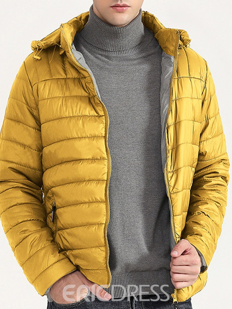 Ericdress Plain Standard Stand Collar Casual Zipper Men's Down Jacket