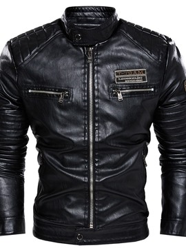 Ericdress Stand Collar Standard Letter Winter Zipper Leather Men's Jacket
