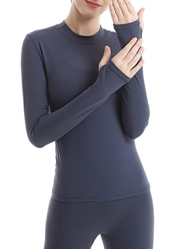 Ericdress Solid Thumbholes Nylon Breathable Long Sleeve Pullover Tops
