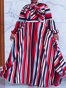 Ericdress Patchwork Floor-Length Long Sleeve Stripe Fall Women's Dress