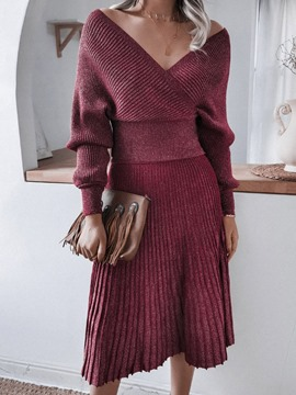 Ericdress Plain Sweater Sexy Pleated V-Neck Women's Two Piece Sets