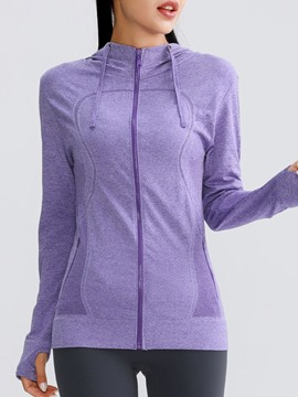Ericdress Anti-Sweat Solid Cotton Blends With Hood Tennis Long Sleeve Tops