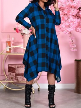Ericdress Asymmetric Mid-Calf Nine Points Sleeve Plaid Single-Breasted Women's Dress