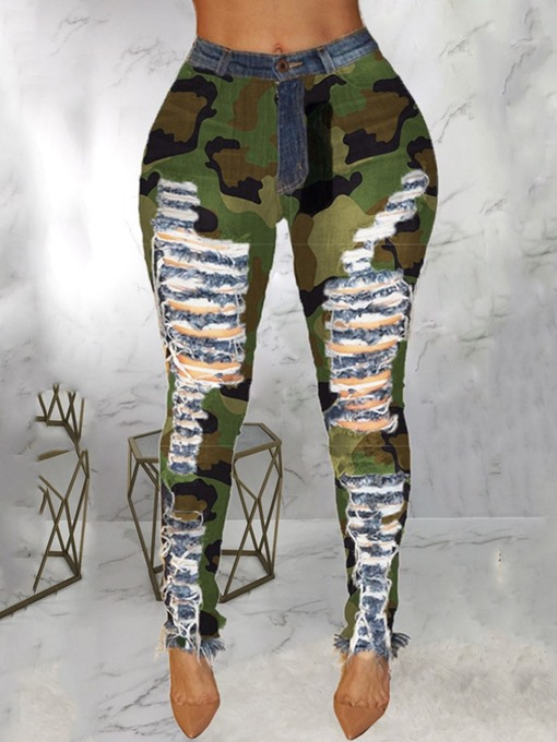 Ericdress Camouflage Pencil Pants Patchwork Skinny Mid Waist Women's Jeans