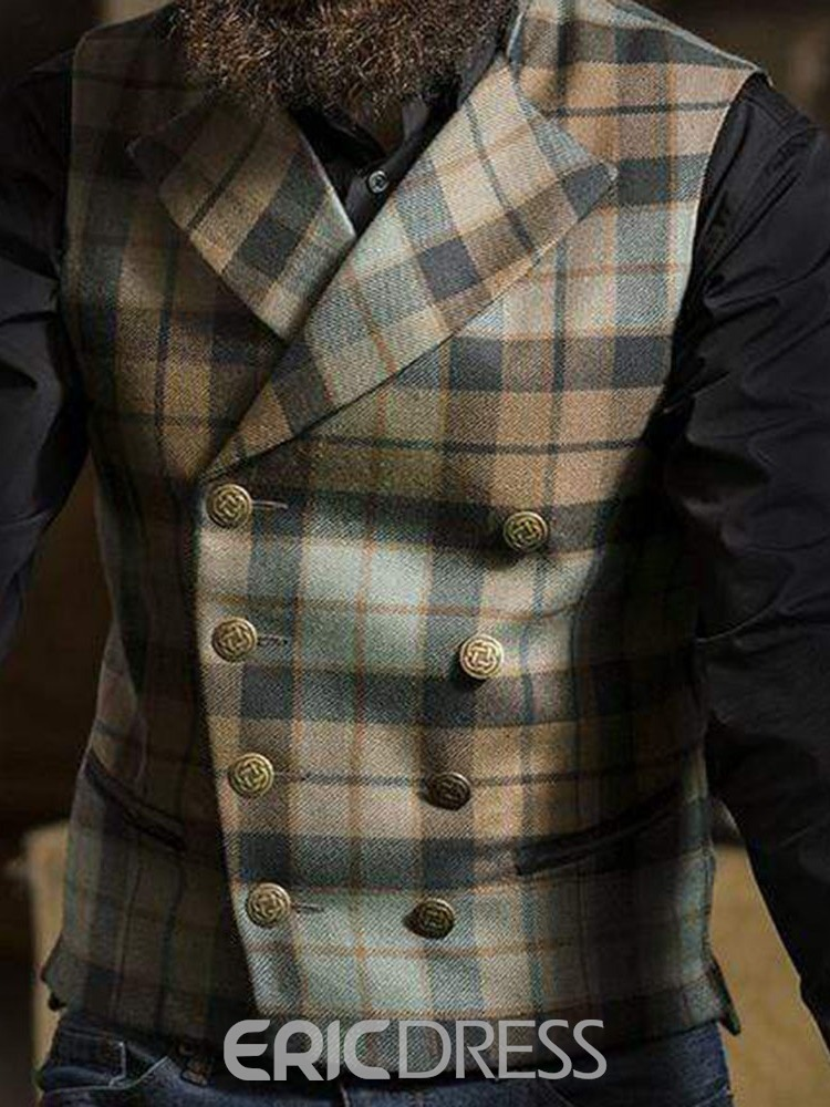 Ericdress Button Plaid Notched Lapel Double-Breasted European Men's Waistcoat