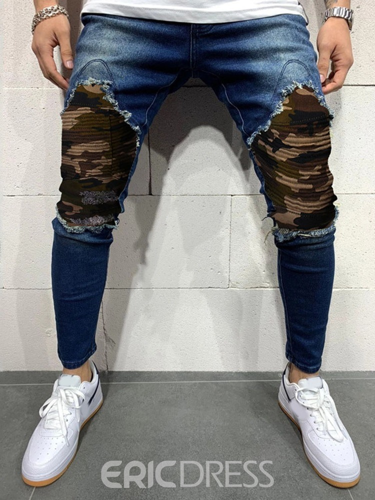 Ericdress Camouflage Pencil Pants Hole Casual Mid Waist Men's Jeans