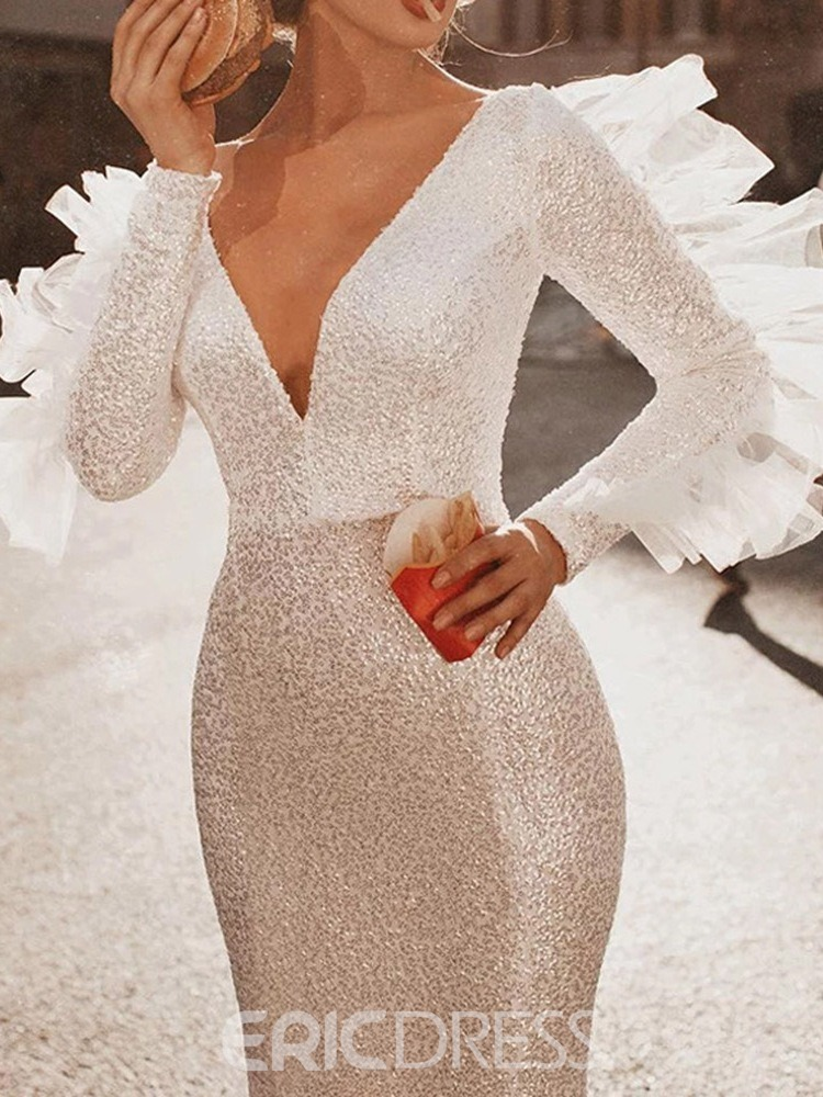 Ericdress V-Neck Long Sleeve Sequins Women's Plain Dress