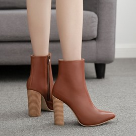 Ericdress Side Zipper Chunky Heel Plain PU Boots