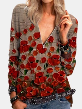 ericdress blusa de manga larga a media pierna con patchwork floral regular
