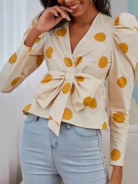 Ericdress Bowknot Puff Sleeve Polka Dots Standard Nine Points Sleeve Women's Blouse