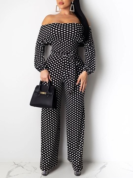 Ericdress Sweet Polka Dots Full Length Loose Mid Waist Women's Jumpsuit