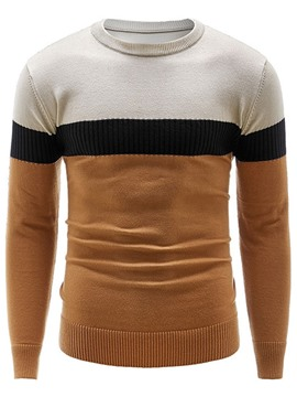Ericdress Color Block Round Neck Patchwork Casual Men's Slim Sweater